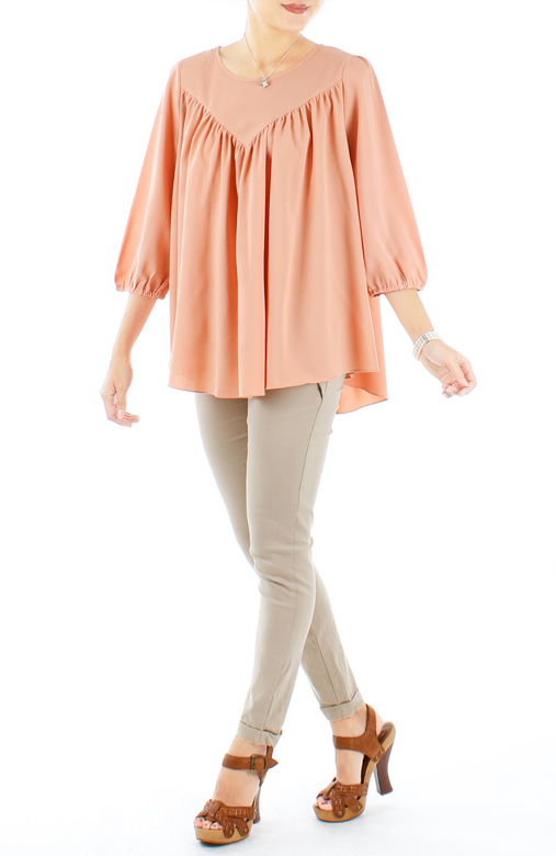 Peach Infinite Gathered Pleat Blouse with ¾ Sleeves
