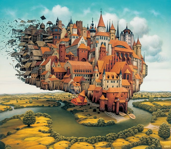 17-The-city-is-landing-Jacek-Yerka-Surreal-Paintings-Parallel-Universes-www-designstack-co