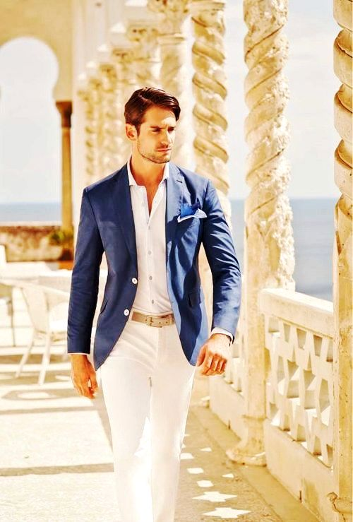 Blue blazer white shirt white pant combination - Menu0026#39;s clothing colour combinations Menu0026#39;s ...
