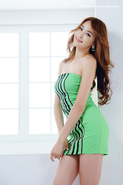 5 Eun Bin Yang-Green Mini Dress-very cute asian girl-girlcute4u.blogspot.com