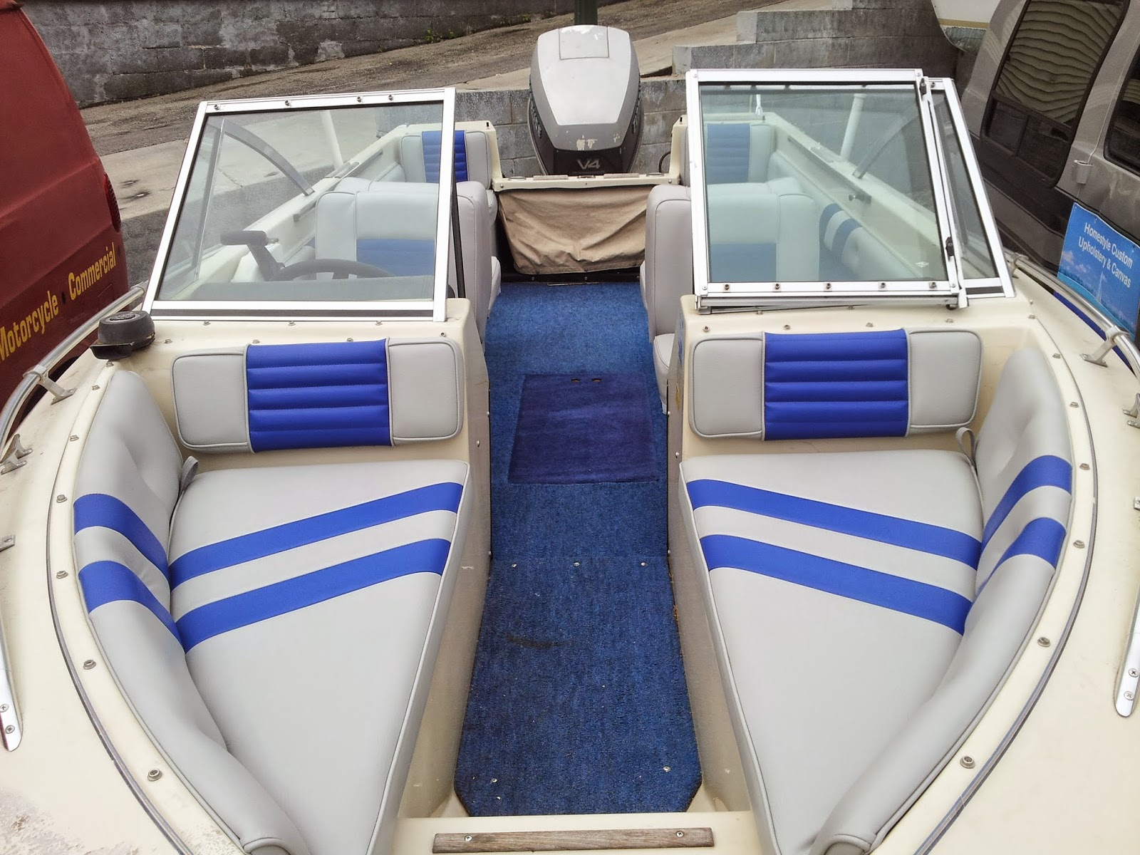 Homestyle Custom Upholstery And Awning Custom Two Tone Boat Interior And Cover
