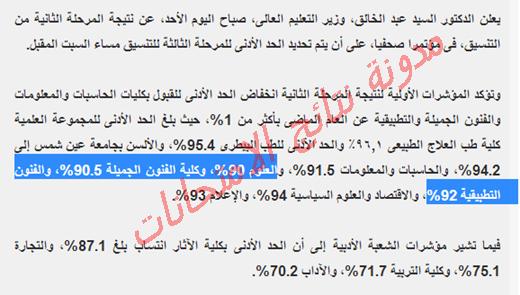 اليوم السابع  | نتيجة تنسيق المرحله الثانيه للثانويه العامه