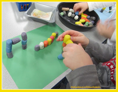 photo of: Preschool Fine Motor Work with Building Materials as Art Project
