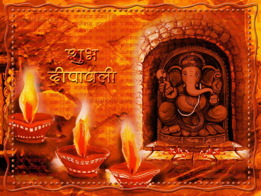 Happy Diwali Wishes 3d Greetings With Laxmiji And Ganpati Wallpapers