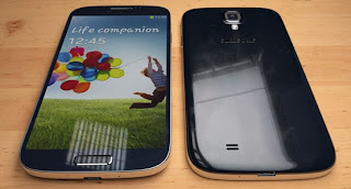 Samsung galaxy s4 black front and back with android jelly bean
