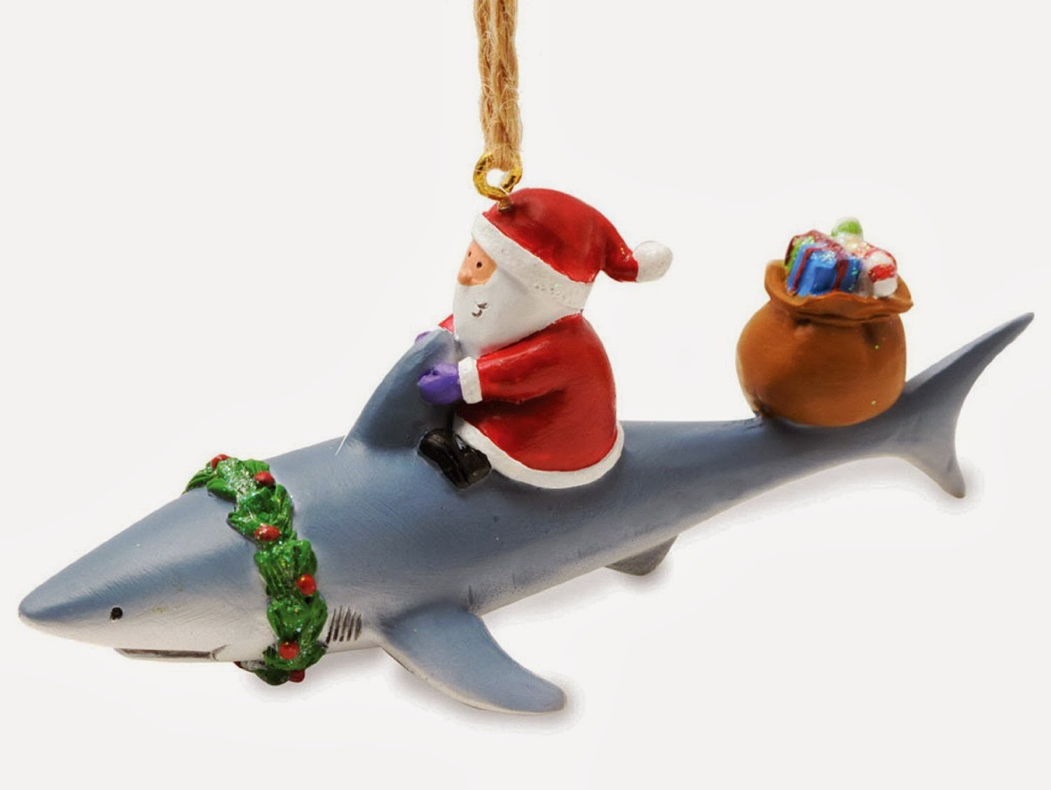 Great white shark christmas ornaments - And Some Though Santa Shark Riding Was Just For Ornaments