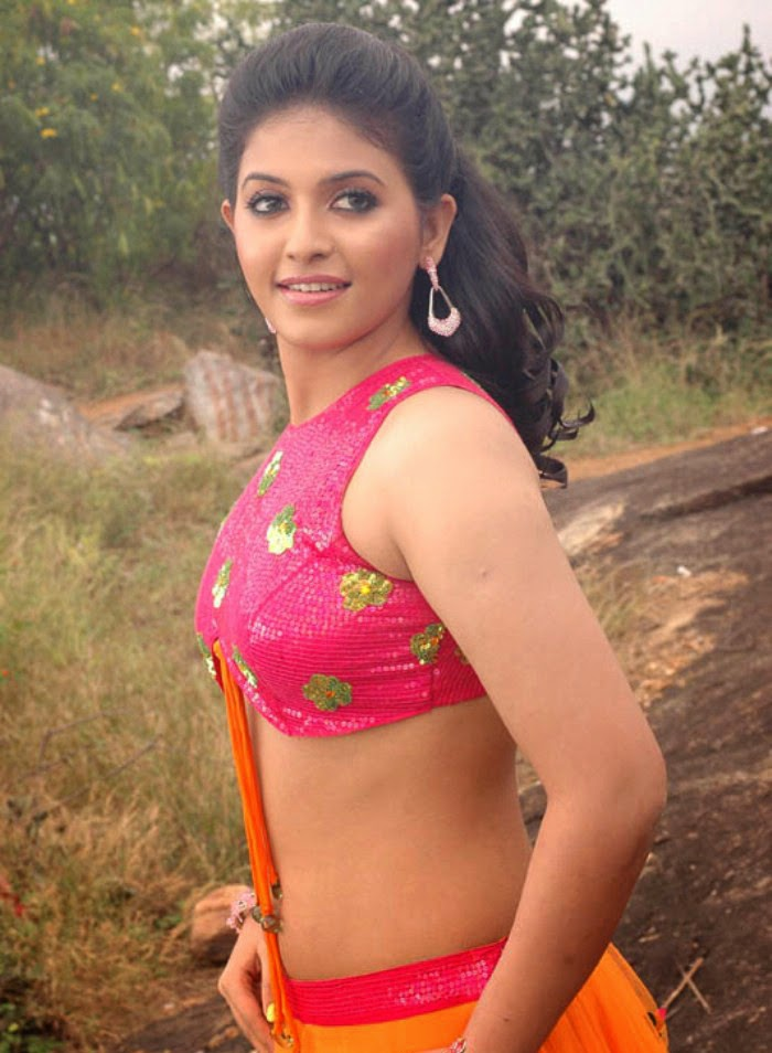 busty aunty anjali hot naked back exposing in pink blouse sexy saree ...