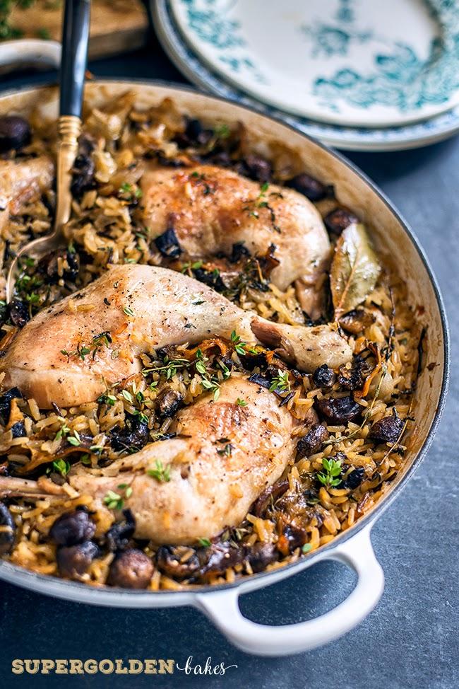 One-pot chicken and mushroom casserole