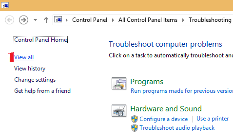 Troubleshoot Problem in Windows 8.1