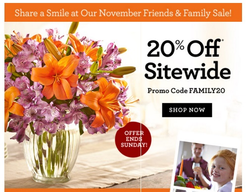 1800Flowers 20% Off Friends & Family Promo Code