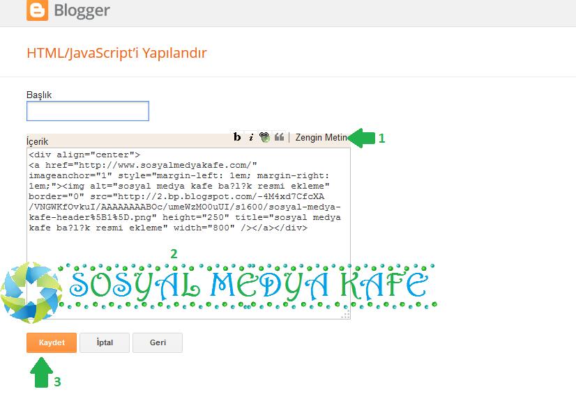 blogger başlık header resmi ekleme