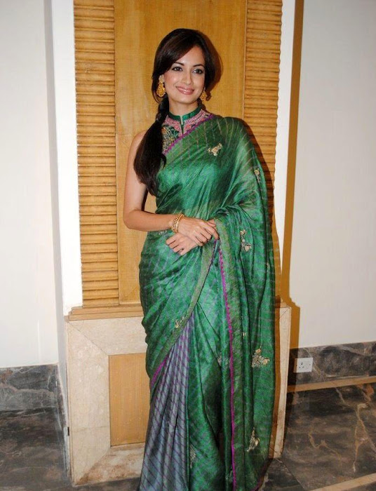 dia mirza in green saree hd