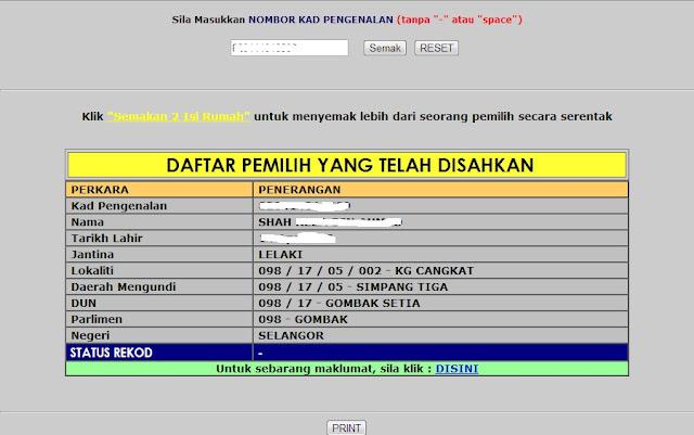 status mengundi pru 13