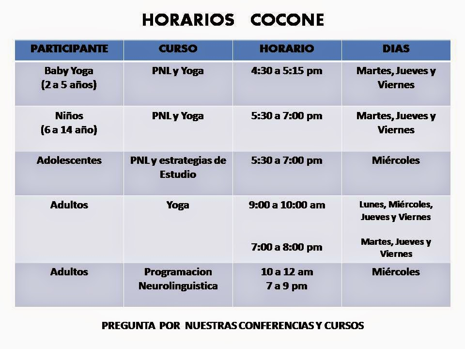 HORARIOS COCONE