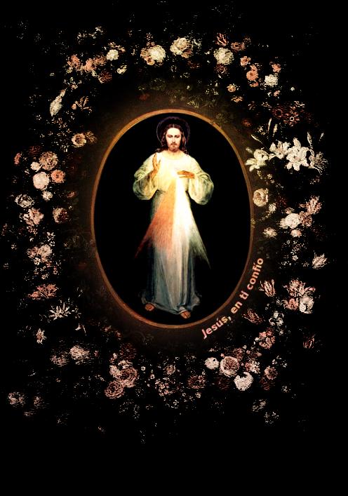 imagen de la divina misericordia entre flores