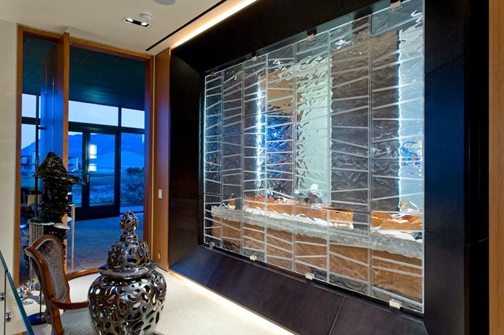 Glass bathroom wall in Multimillion modern dream home in Las Vegas