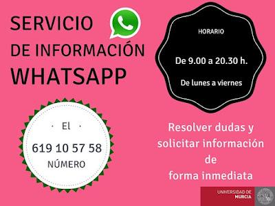 Nuevo servicio de información a través de Whatsapp en la BUM.