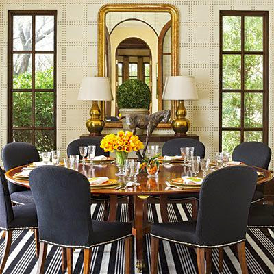 modern dining  room with nail head textured geometric pattern walls