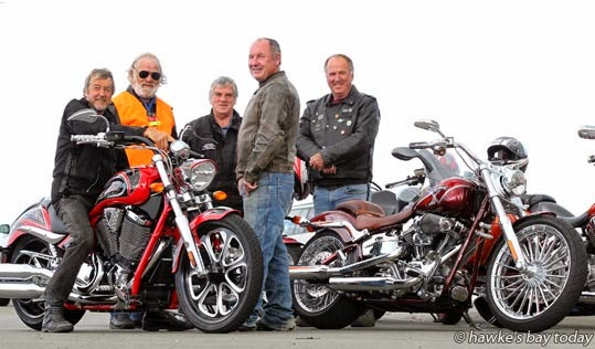 L-R: Len June, Taradale, Cliff Haydon, Napier, Jeff McPhun, Taradale, Robert Anderson, Taradale, Barry Robertson, Napier - members of the Hawke's Bay branch of Ulysses Motorcycle Club, promo for their annual St John's Ride on Anzac Day, a fundraiser for St John Ambulance. photograph