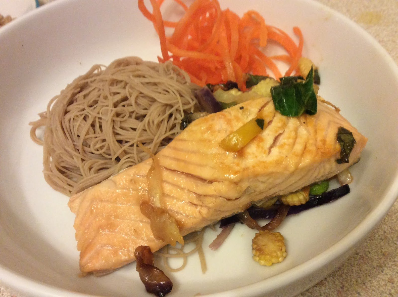Salmon in a lemon, honey and ginger glaze with buckwheat noodles