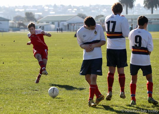 Left: Fane Morgan, Hastings Boys' High School, Hastings - soccer vs Rotorua Boys' High School, Rotorua, New Zealand Super Eight Schools' Football Tournament at Napier Boys' High School, Napier photograph