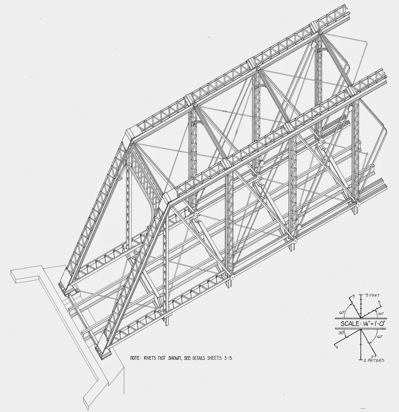 Free Model Railroad Plans, bridges, truss, pratt, through, Baltimore & Ohio