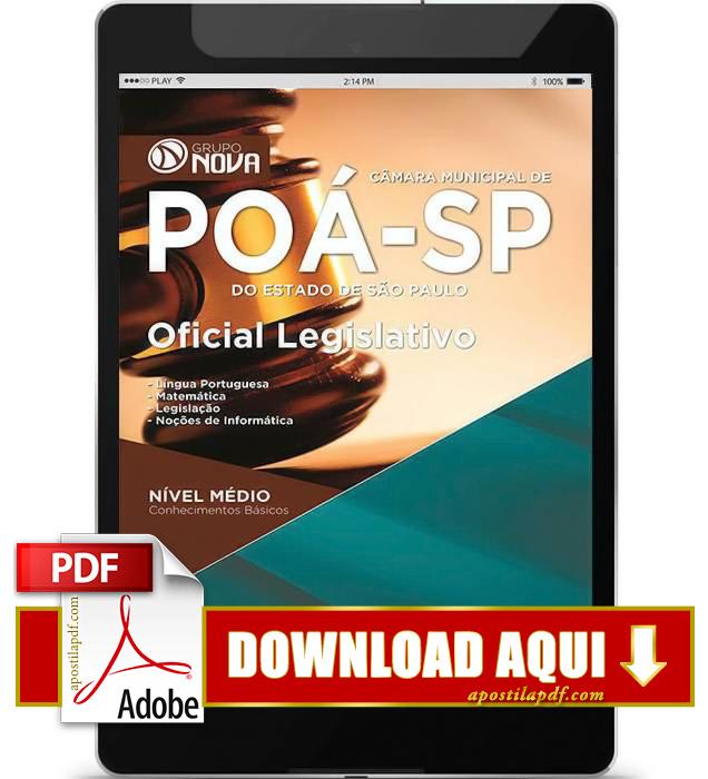 Apostila Oficial Legislativo Câmara Municipal de Poá 2015 PDF Download