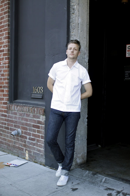 J Maxwell Bennett White Button up Nagel Place Seattle Street Style
