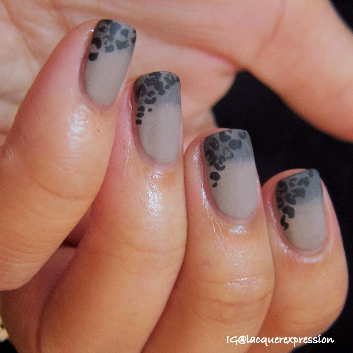 Sideway leopard print nail art manicure over gradient using French tip vinyls from Glam My Mani.