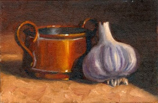 Oil painting of a miniature copper pot beside a bulb of garlic.