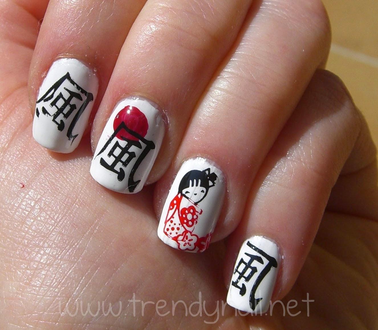 Иероглифы на ногтях фото и как рисовать