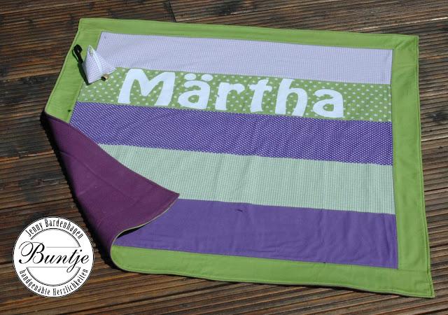 Kuscheldecke Name Babydecke Decke Patchworkdecke Baby Baumwolle Fleece grün lila Name individualisierbar handmade Buntje Webband Schnullertäschchen