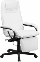 White Leather Reclining Office Chair
