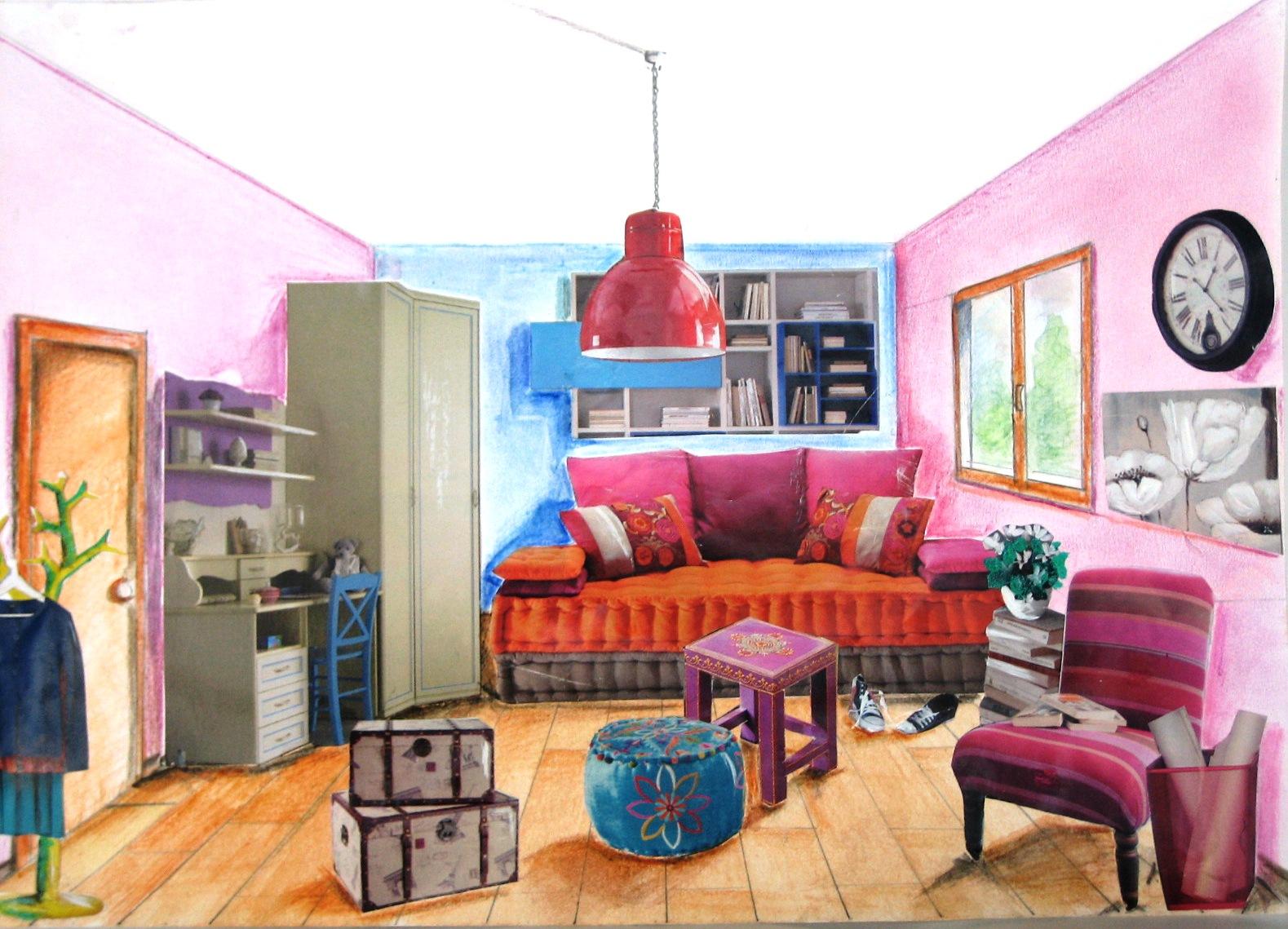 Immagin rti arredare una stanza for Disegni di case in prospettiva