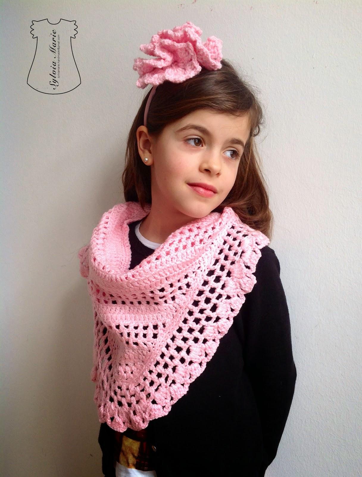 Schal rosa y diadema con flor en rosa