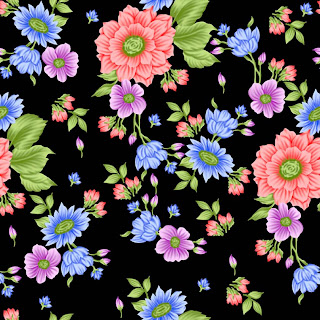 textile patterns black background and flowers