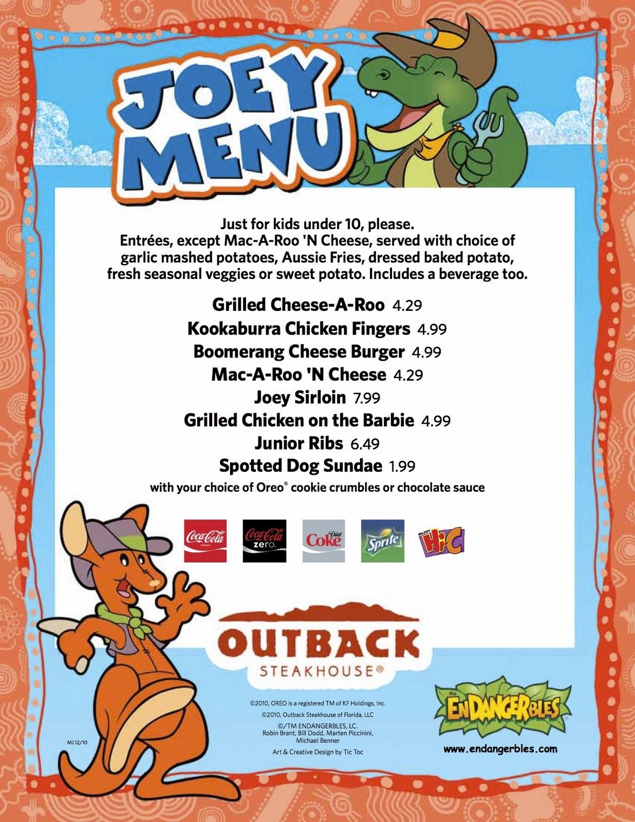 The Kids Menu Outback Steakhouse Kids Menu