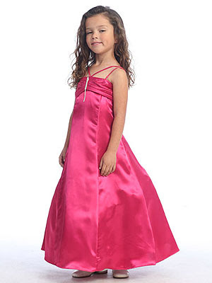 Fuchsia+Ruched+Bodice+Flower+Girl+Dress