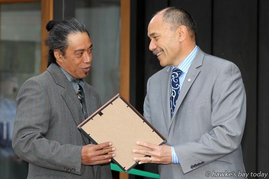 L-R: Jason Cunningham, Governor-General Lt Gen The Rt Hon Sir Jerry Mateparae, at the official opening of the Bostock Organic Kitchen, and presentation of staff certificates, at Bostock's in Kirkwood Rd, Hastings. photograph