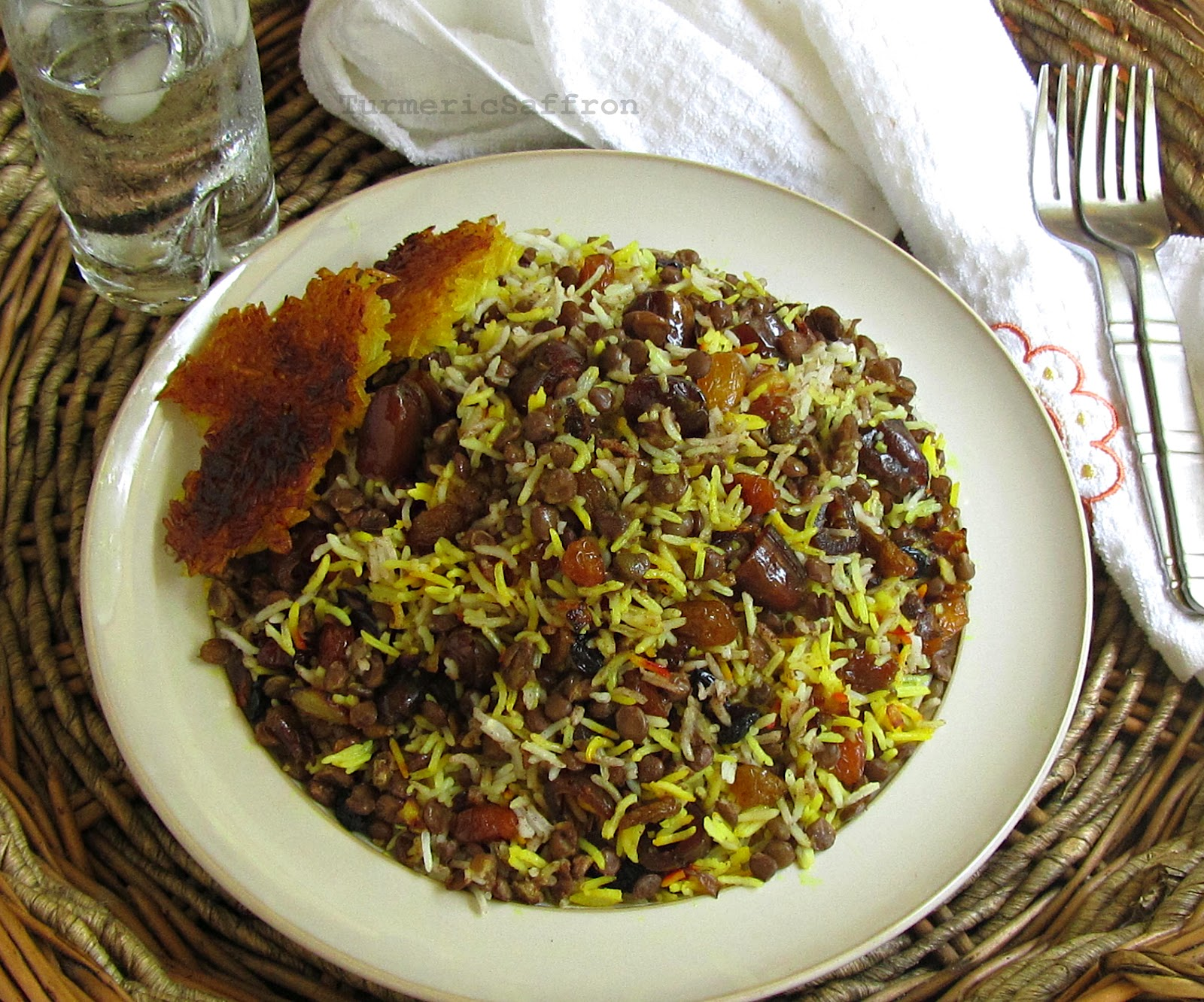 Turmeric saffron adas polow rice with lentils for A treasury of persian cuisine