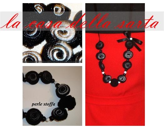 collane con perle di stoffa nero e bianco