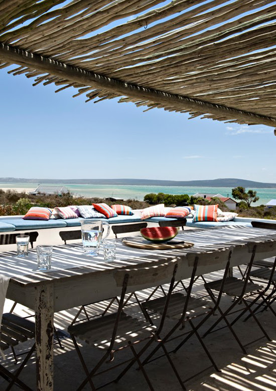 Safari Fusion blog | Beach living | Al fresco dining with water views at Scrimshaw beach cottage Churchhaven, South Africa
