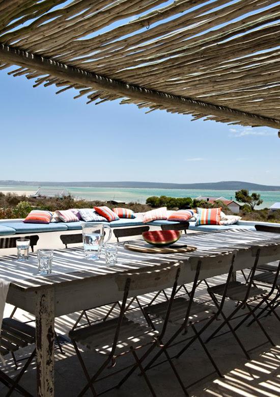 Safari Fusion blog | Beach living | Al fresco dining with water views at Scrimshaw beach cottage Churchhaven, South Africa