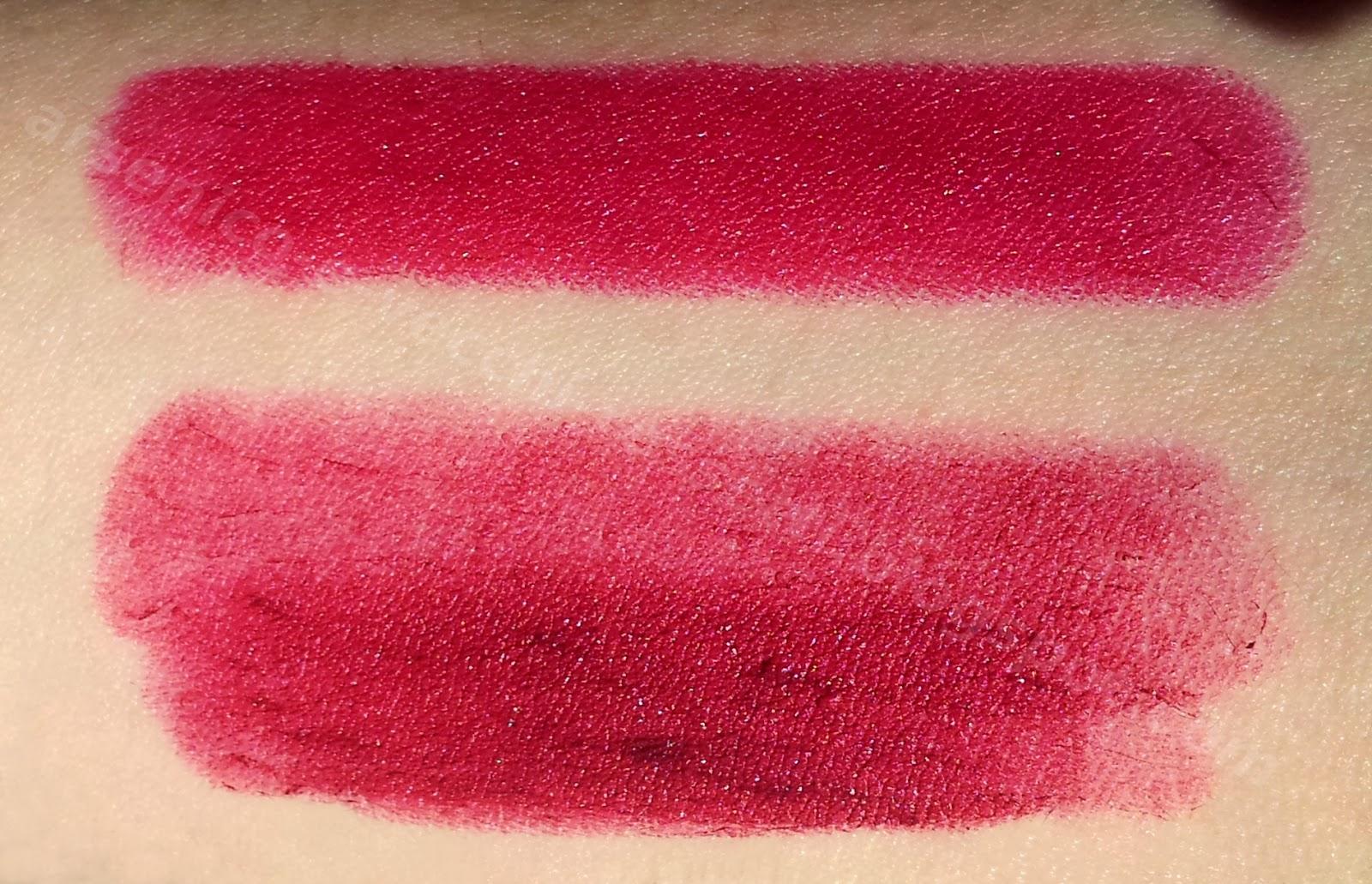 Chanel rossetto Rouge Allure Velvet #327 La Désirée swatch Rimmel Lasting Finish Kate Moss 09