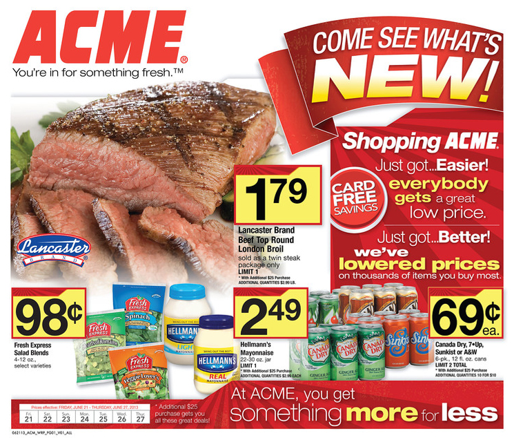 Acme Markets Weekly Ad Specials. Get this week Acme Circular sale prices, printable coupons, current circular savings, grocery flyer and offers. Most Acme Markets locations have a Pharmacy staffed with caring professionals.