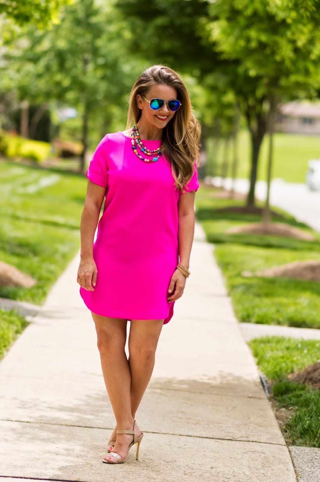 Hot Pink Shift Dress | KBStyled | Nashville Fashion Blog