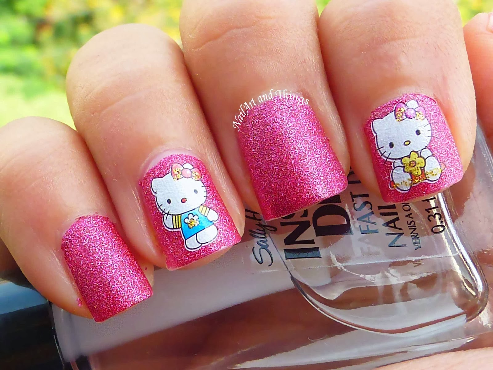 One hundred styles hello kitty nail art designs for short nails one hundred styles prinsesfo Gallery