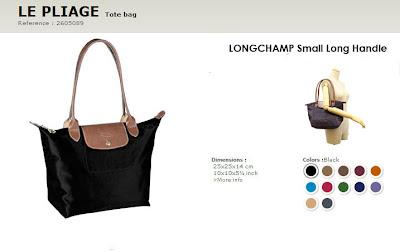 LONGCHAMP LE PLIAGE SMALL LONG HANDLE ~ RM360. * Measures approx 10\