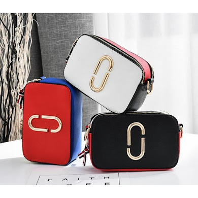 SLING BAG - BLACK , RED , WHITE