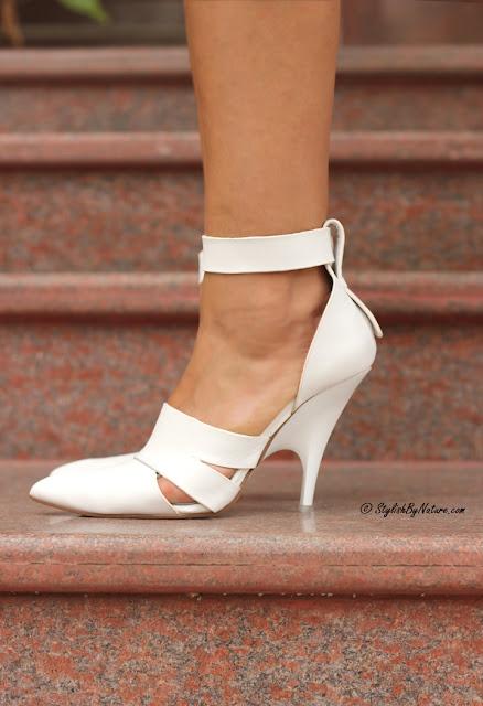 white heels straps